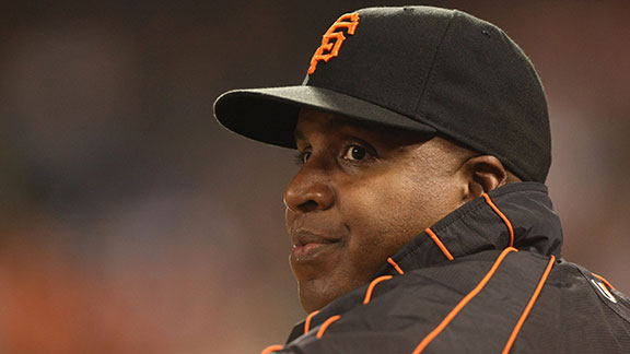 Barry Bonds #25 of the San Francisco Giants looks on during action against the San Diego Padres September 24, 2007 at AT&T Park in San Francisco, California.