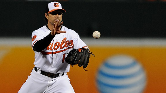 Second basemen Brian Roberts #1 of the Baltimore Orioles
