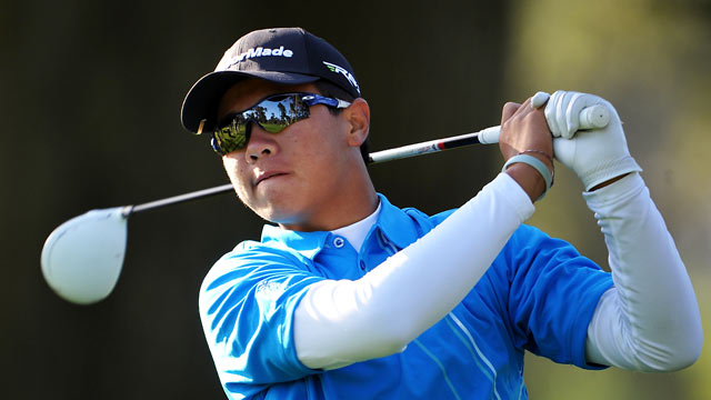 PHOTO: Andy Zhang hits a tee shot during a practice round prior to the start of the 112th U.S. Open in San Francisco, Calif., June 12, 2012.