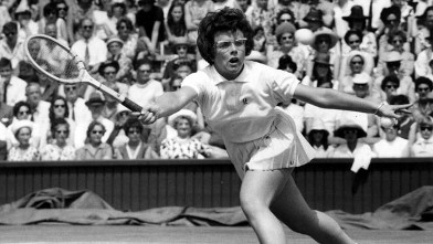 PHOTO: American tennis player Billie Jean King in action during a semi final in the women's singles championship at Wimbledon.