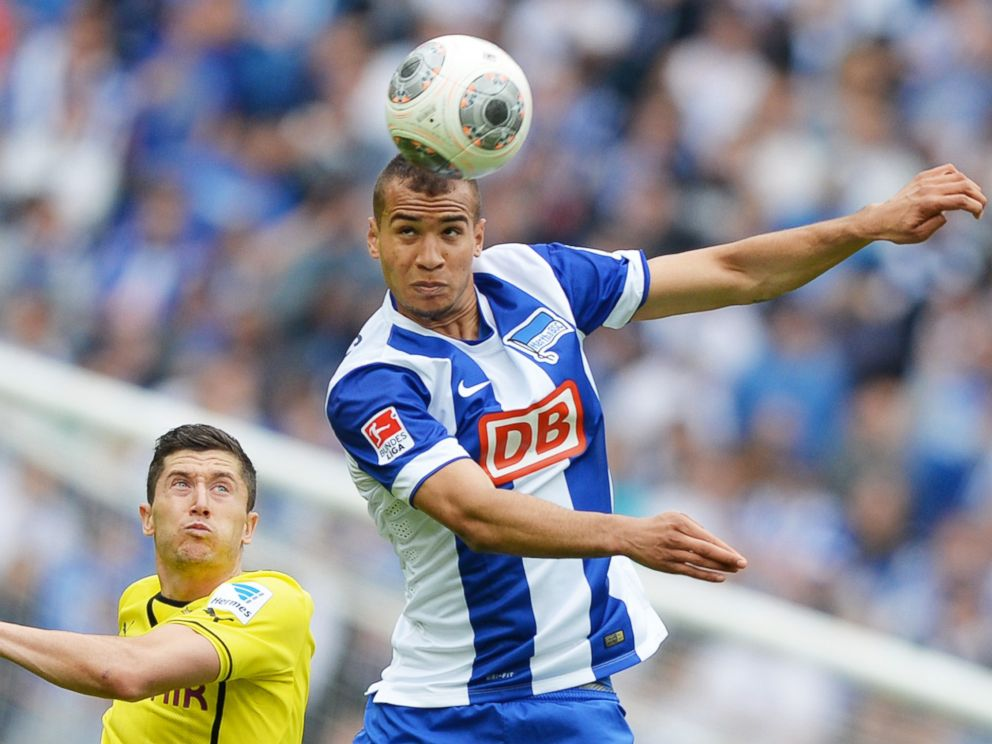 PHOTO: German-American player John Anthony Brooks fights for control of the ball for Hertha BSC during German league play in Berlin on May 10, 2014.