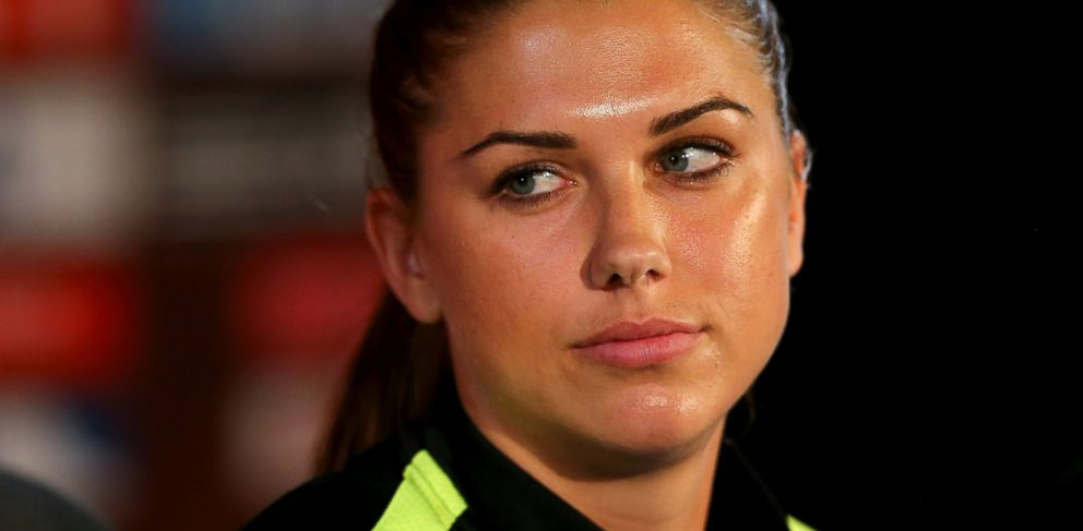 PHOTO: Alex Morgan answers questions during a news conference at Olympic Stadium on June 29, 2015 in Montreal, Canada.