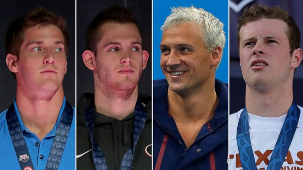 PHOTO: U.S. Olympic swimmers Jimmy Feigen, Gunnar Bentz, Ryan Lochte and Jack Conger are pictured in Rio de Janeiro, Brazil during the 2016 Olympics.