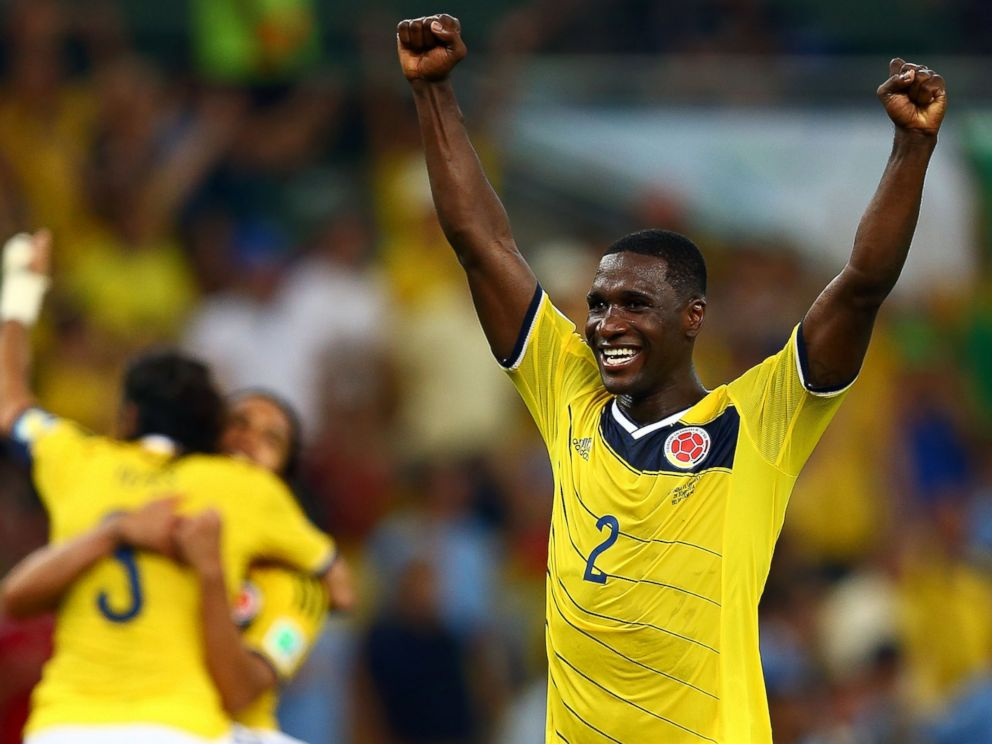 PHOTO: Cristian Zapata of Colombia Celebrates after defeating Uruguay 2-0 during the 2014 FIFA World Cup Brazil match at Maracana on June 28, 2014 in Rio de Janeiro, Brazil.