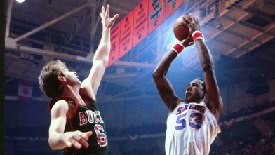 PHOTO: Darryl Dawkins, of the Philadelphia 76ers shoots during an NBA basketball game at the Spectrum Philadelphia, Penn., during the 1981 season.