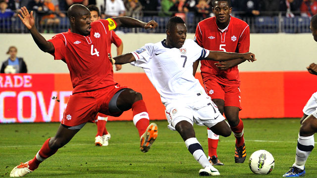 PHOTO: Freddy Adu, #7 of the USA plays against Canada in the CONCACAF Men's Olympic Qualifying match, Nashville, Tenn., March 24, 2012.