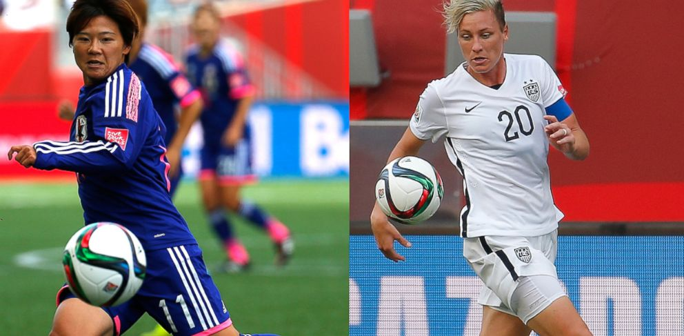 PHOTO: Shinobu Ohno, No.11, of Japan during the FIFA Womens World Cup Canada 2015, June 16, 2015, in Winnipeg, Canada. Left, Abby Wambach, No. 20. of the U.S. during the FIFA Womens World Cup Canada 2015, June 8, 2015,in Winnipeg, Canada.