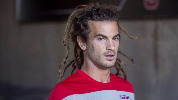 PHOTO: United States mens national soccer player Kyle Beckerman speaks with reporters during a World Cup training camp in Stanford, California on May 21, 2014.