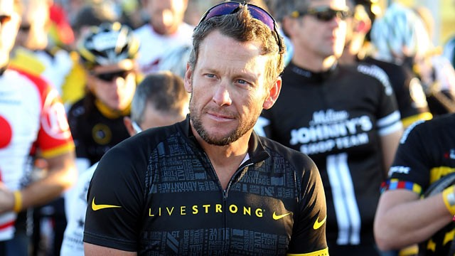 PHOTO: Seven time Tour De France winner Lance Armstrong waits at the starting line during his Team Livestrong Challenge bike ride, Oct. 15, 2011 in Dripping Springs, Texas.