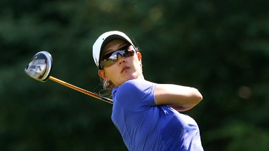 Michelle Wie hits her tee shot on the sixth hole during the Wegmans LPGA Championship at Locust Hill Country Club, Pittsford, NY June 8, 2012.