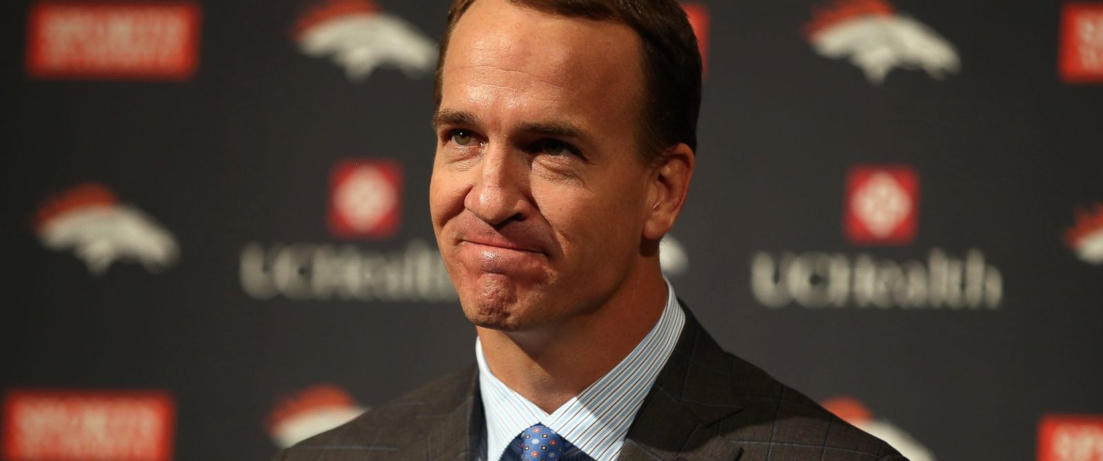 PHOTO: Quarterback Peyton Manning announces his retirement from the NFL at the UCHealth Training Center on March 7, 2016 in Englewood, Colo.