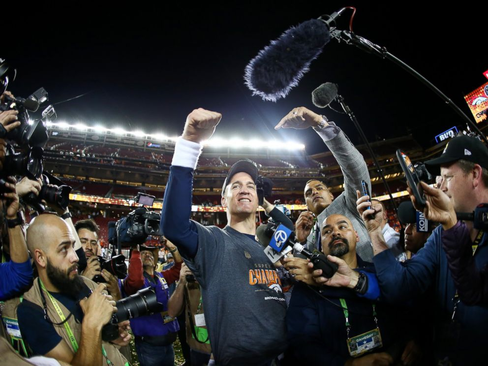 PHOTO: Peyton Manning of the Denver Broncos after Super Bowl 50 at Levis Stadium on Feb. 7, 2016 in Santa Clara, California. The Broncos defeated the Panthers 24-10.