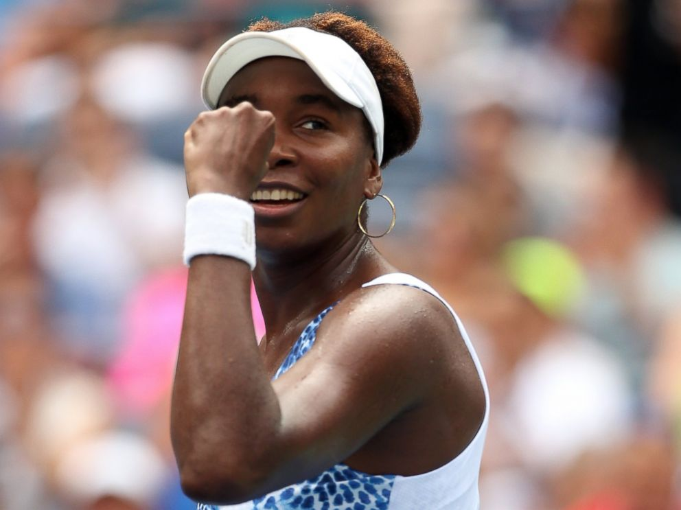 PHOTO: Venus Williams of the United States celebrates after defeating Belinda Bencic of Switzerland in their Womens Singles match at the 2015 US Open on Sept. 4, 2015 in New York.