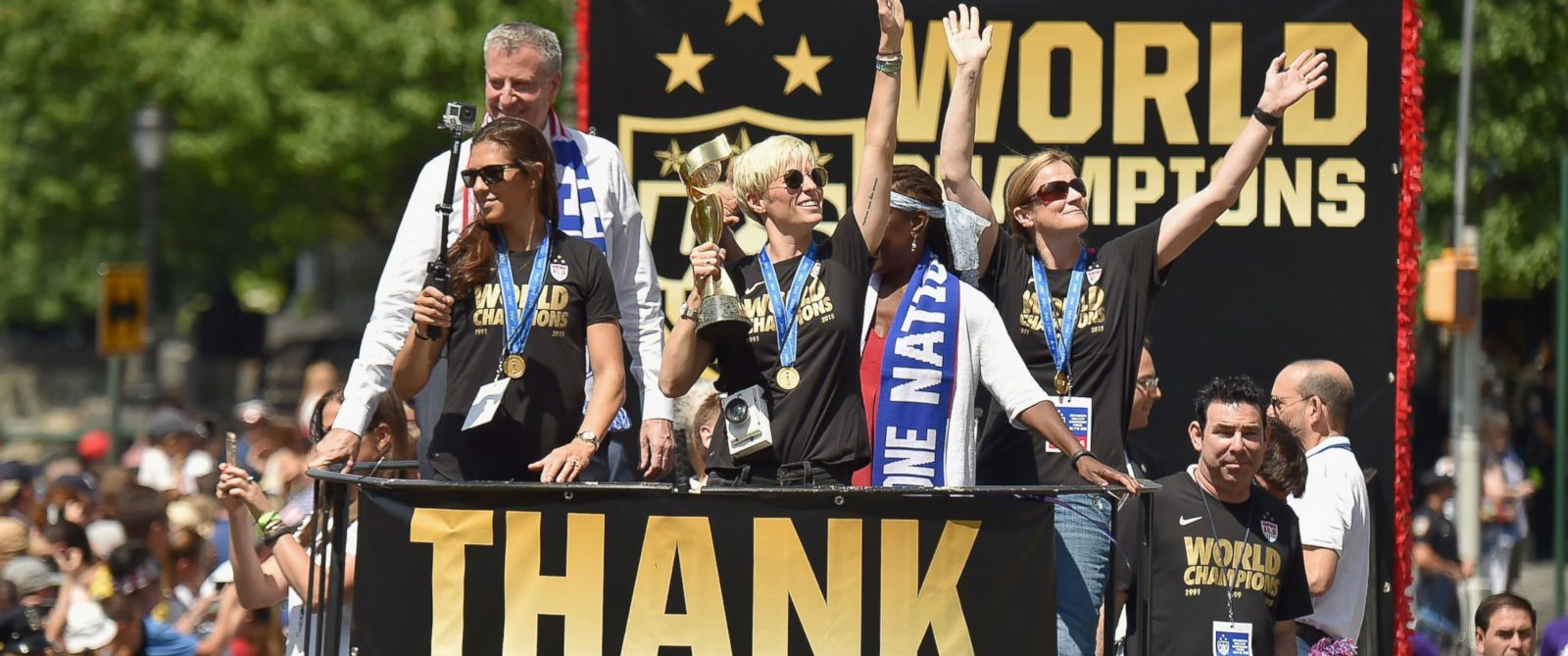 PHOTO: Soccer players Carli Lloyd and Megan Rapinoe in the New York City Ticker Tape Parade for World Cup Champions U.S. Womens Soccer National Team, July 10, 2015, in New York.