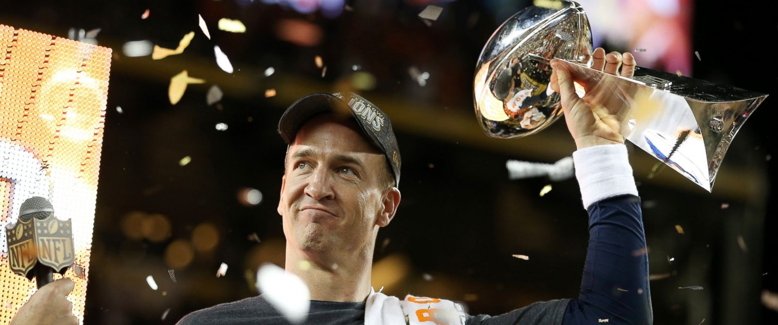 PHOTO: Denver Broncos quarterback Peyton Manning celebrates with the Vince Lombardi Trophy after Super Bowl 50 at Levis Stadium on Feb. 7, 2016, in Santa Clara, California.