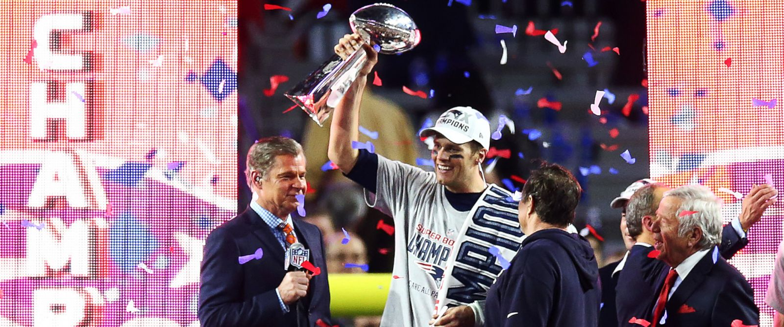 PHOTO: Tom Brady #12 of the New England Patriots holds the Vince Lombardi Tropy after winning Super Bowl XLIX over the Seattle Seahawks 28-24 at University of Phoenix Stadium on Feb. 1, 2015 in Glendale, Ariz.