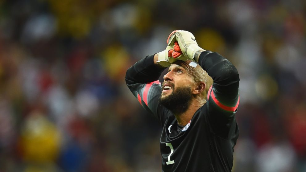 PHOTO: Tim Howard of the United States reacts during the 2014 FIFA World Cup Brazil match between Belgium and the United States at Arena Fonte Nova on July 1, 2014 in Salvador, Brazil.