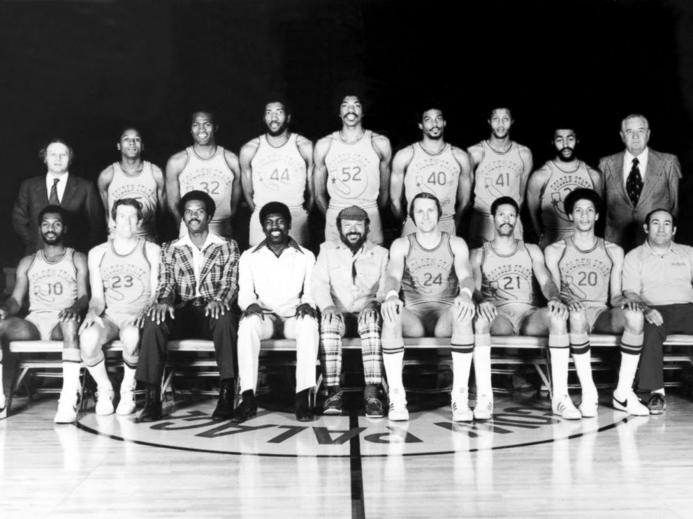 PHOTO: The World Champions of basketball Golden State Warriors pose for a team portrait in Oakland, Calif., 1975.