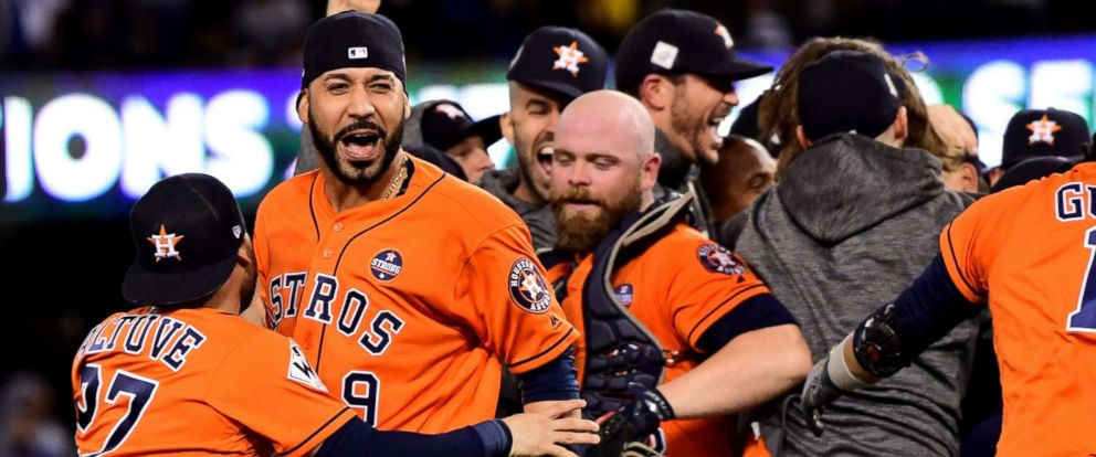 PHOTO: Marwin Gonzalez, #9 of the Houston Astros, celebrates with teammates after defeating the Los Angeles Dodgers 5-1 in game seven to win the 2017 World Series at Dodger Stadium, Nov. 1, 2017, in Los Angeles.