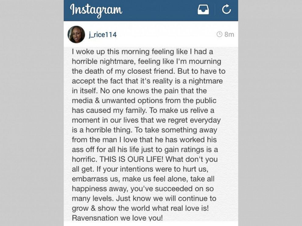 PHOTO: A statement posted to Janay Rices Instagram account on Sept. 9, 2014 says, To make us relive a moment in our lives that we regret every day is a horrible thing.