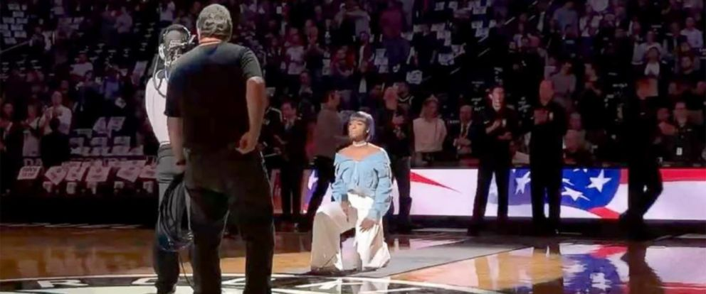 PHOTO: A screengrab from a video that singer Justine Skye posted to her Instagram account of herself taking a knee during her performance of the national anthem during a Brooklyn Nets game in Brooklyn, N.Y. on Oct. 20, 2017.