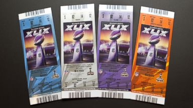 PHOTO: The tickets to the 2015 Superbowl between the New England Patriots and the Seattle Seahawks.