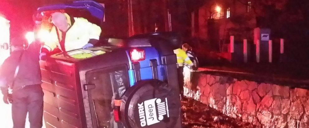 PHOTO: A 2015 Jeep Wrangler is pictured rolled onto its side in a Massachusetts State Police handout image from Jan. 19, 2015.