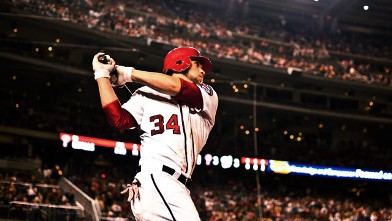 PHOTO: Bryce Harper, of the Washington Nationals looks on during the game against the Philadelphia Phillies in Washington, DC, May 4, 2012.