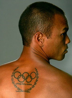 olympic tattoos. American Track and Field athlete Bryan Clay showed off his