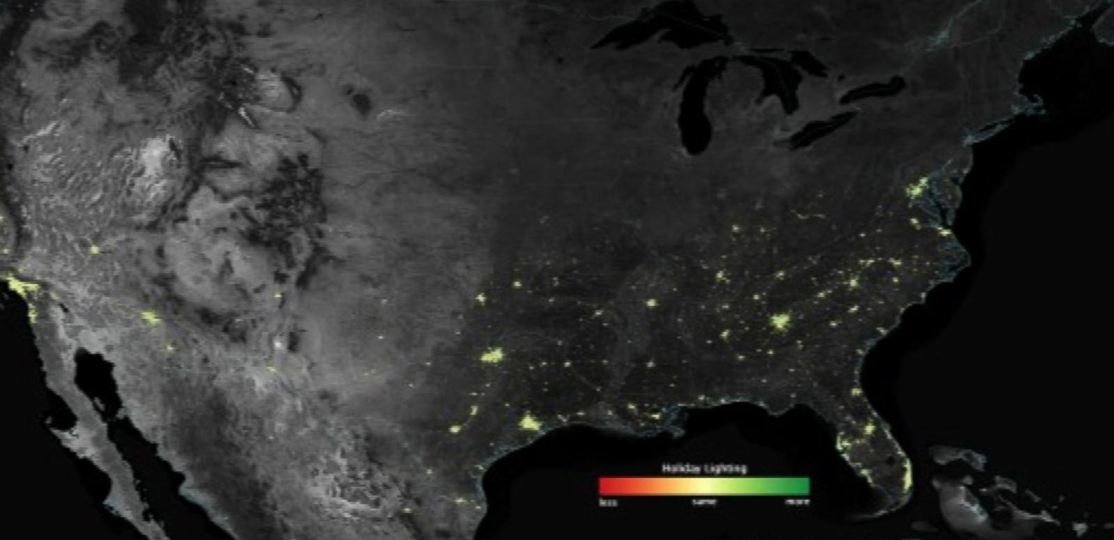 VIDEO: NASA releases satellite images of holiday decorations visible from space, lighting up large swaths of the US.