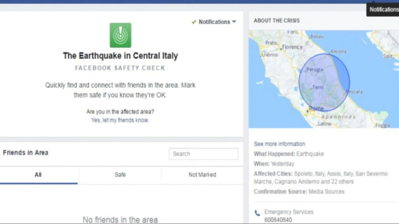 Facebook Has Activated Its 'Safety Check' Feature Following An Earthquake In Central Italy