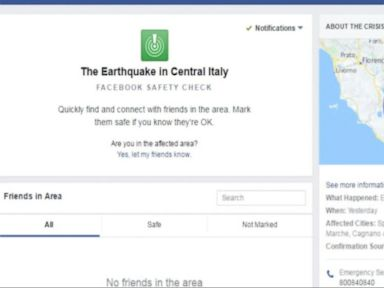 WATCH:  Facebook Has Activated Its Safety Check Feature Following An Earthquake In Central Italy