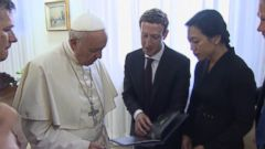 Pope Francis met with Facebook founder Mark Zuckerberg to discuss how technology may be able to help relieve poverty.
