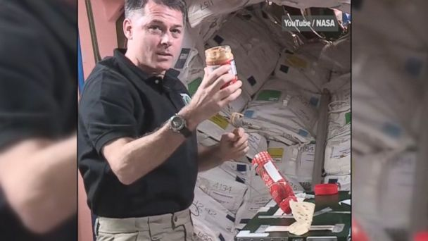 VIDEO: NASA Astronaut Robert Kimbrough demonstrates how to make a peanut butter and jelly sandwich in zero gravity aboard the International Space Station.