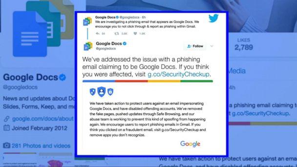 VIDEO:  Google Docs phishing scam alert