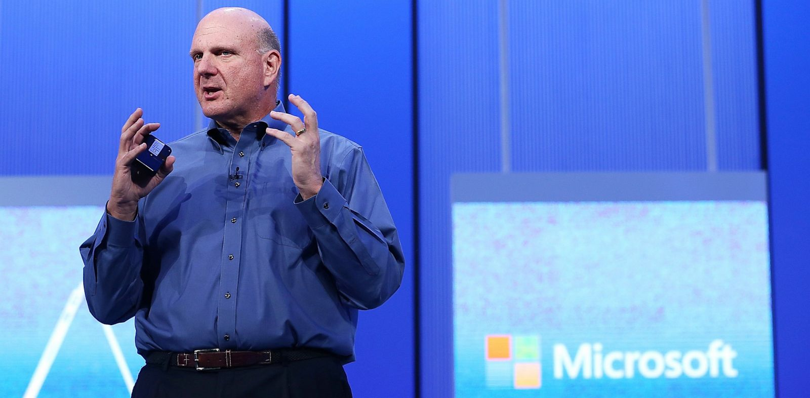 PHOTO: Microsoft CEO Steve Ballmer speaks during the keynote address during the Microsoft Build Conference on June 26, 2013 in San Francisco, California.