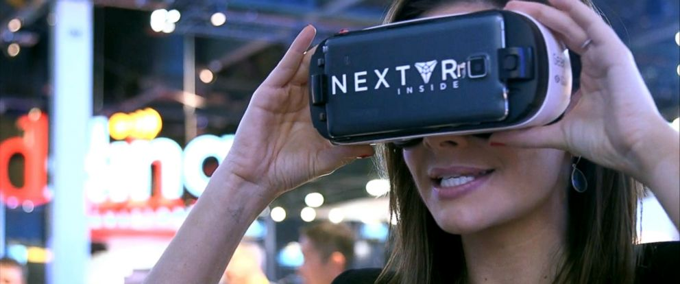 PHOTO: ABC News Rebecca Jarvis is seen looking at video with NextVR gaggles during CES 2016, Jan. 8, 2016, in Las Vegas.