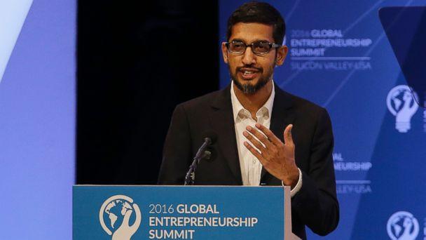 PHOTO: Google CEO Sundar Pichai speaks at the Global Entrepreneurship Summit in Stanford, Calif.,  June 24, 2016.