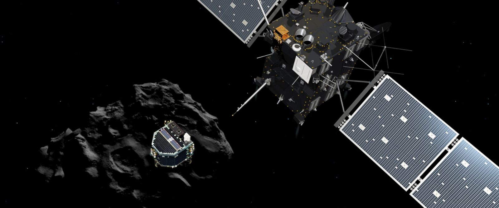 The image released by the European Space Agency ESA, Nov. 12, 2014 shows an artist rendering by the ATG medialab depicting lander Philae separating from Rosetta mother spaceship and descending to the surface of comet 67P/Churyumov-Gerasimenko.