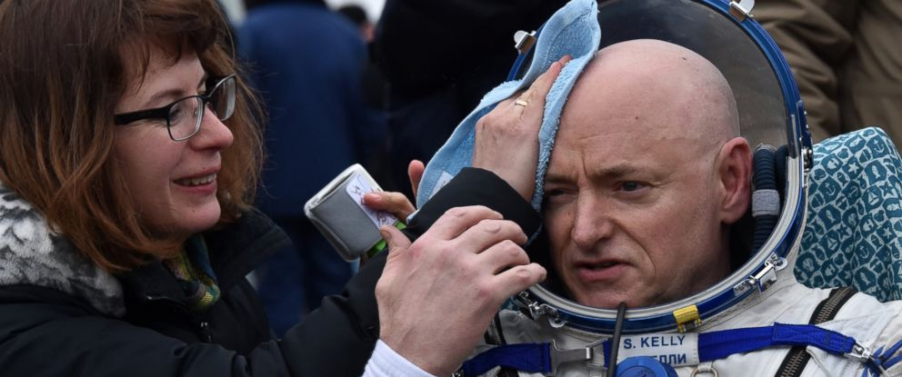 PHOTO: International Space Station (ISS) crew member Scott Kelly of the U.S. rests in a chair after landing by the Soyuz TMA-18M space capsule near the town of Dzhezkazgan, Kazakhstan, on March 2, 2016.