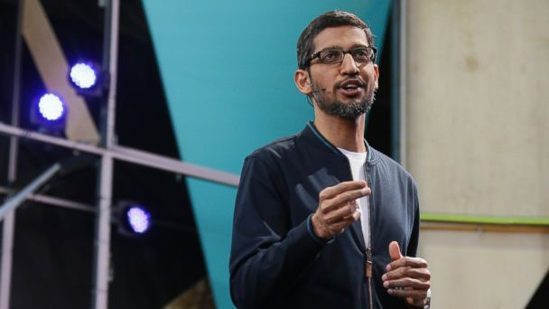 PHOTO: Google CEO Sundar Pichai delivers the keynote address of the Google I/O conference, May 18, 2016, in Mountain View, Calif.