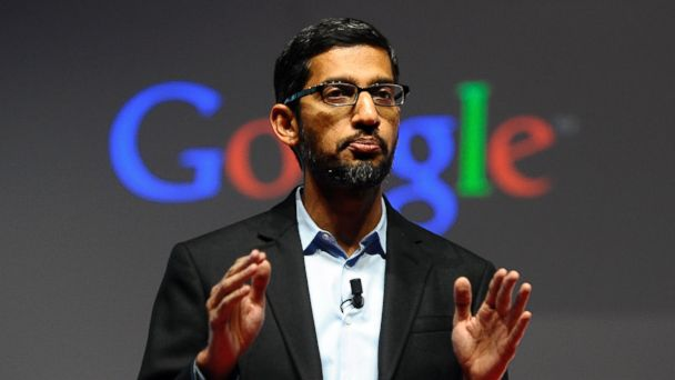 PHOTO: Sundar Pichai is seen here March 2, 2015 during a conference during the Mobile World Congress in Barcelona.