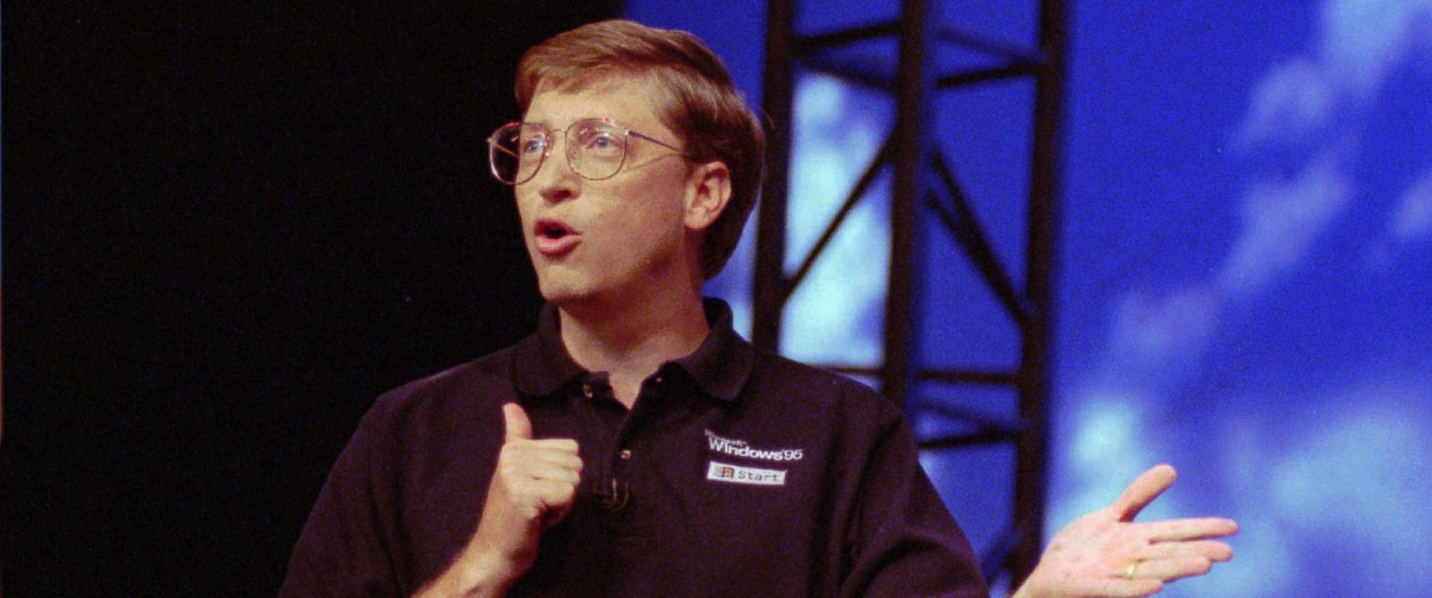 PHOTO:Microsoft Chairman Bill Gates speaks in a tent at the Microsoft Windows 95 Launch Event, Aug. 24, 1995, in Redmond, Wash., on the companys corporate campus.