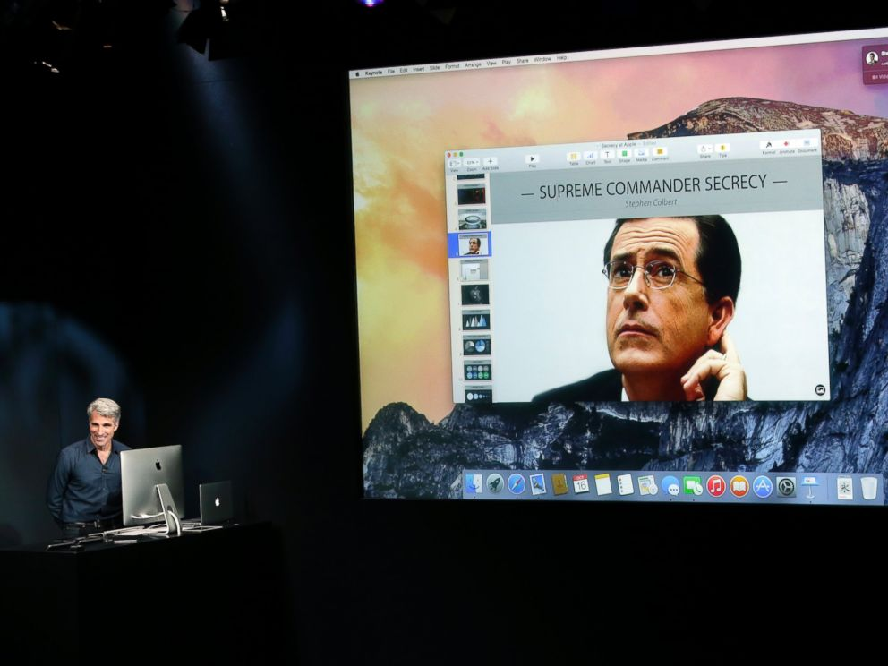 PHOTO: Craig Federighi, senior vice president of Software Engineering at Apple, far left, has a video chat with Stephen Colbert as he discusses the new operating system update during an event at Apple headquarters on Oct. 16, 2014 in Cupertino, Calif.