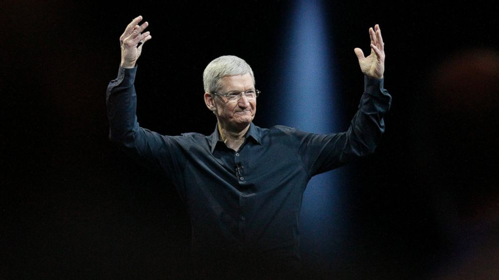 PHOTO: Apple CEO Tim Cook gestures during the Apple Worldwide Developers Conference in San Francisco