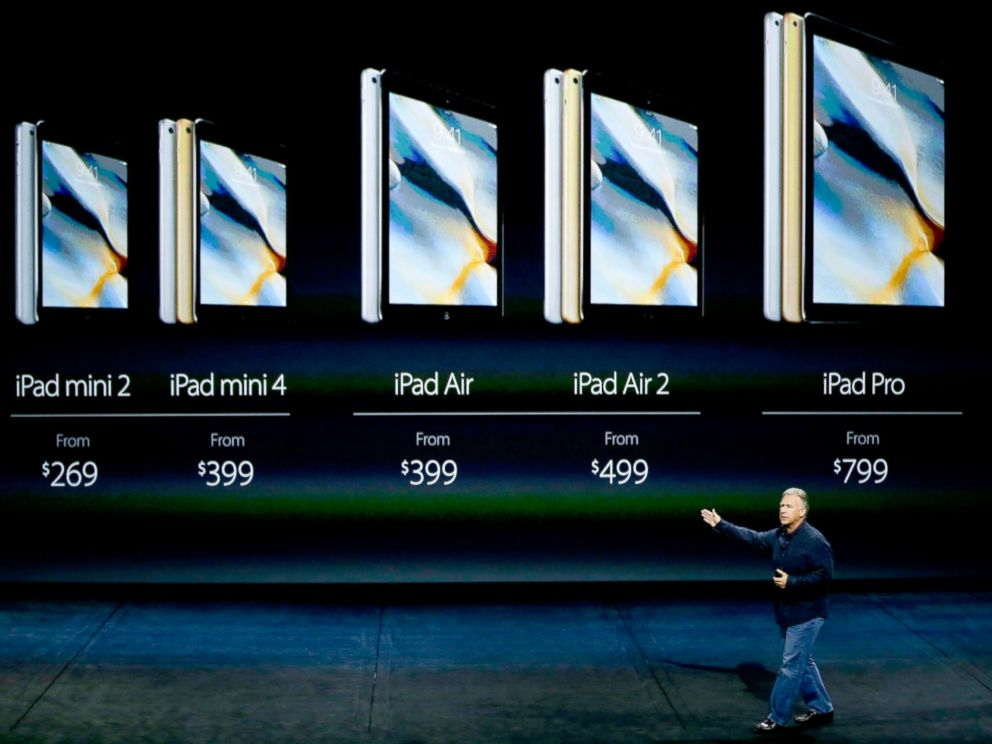PHOTO: Phil Schiller, Apples senior vice president of worldwide marketing, discusses the pricing for the iPad lineup during the Apple event at the Bill Graham Civic Auditorium in San Francisco, Sept. 9, 2015.