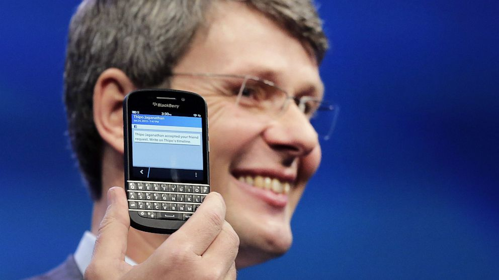 PHOTO: Thorsten Heins, CEO of Research in Motion, introduces the BlackBerry Q10, in New York, Jan. 30, 2013.