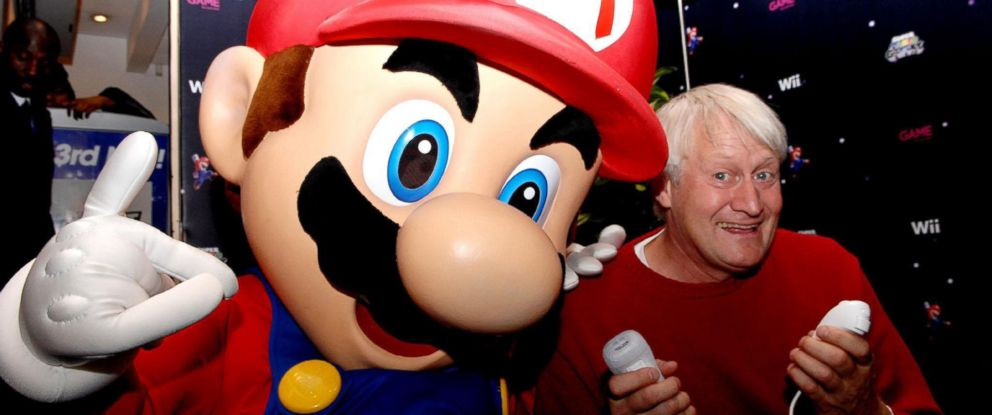 PHOTO: The voice of Super Mario, Charles Martinet, poses with Mario, Nov. 15, 2007, in London.