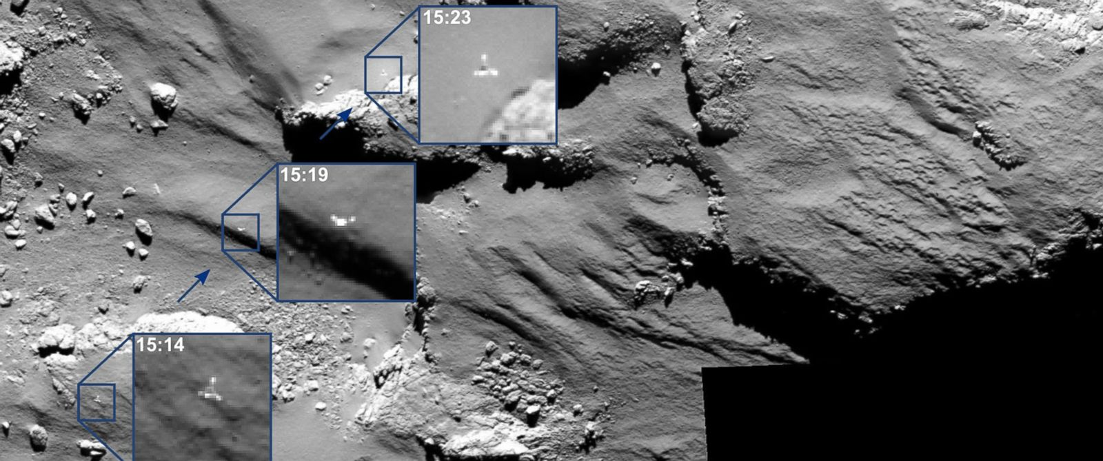PHOTO: The combination image of several partially enlarged photographs shows the journey of Rosettas Philae lander as it approached and then rebounded from its first touchdown on Comet 67P/Churyumov–Gerasimenko, Nov. 12, 2014.
