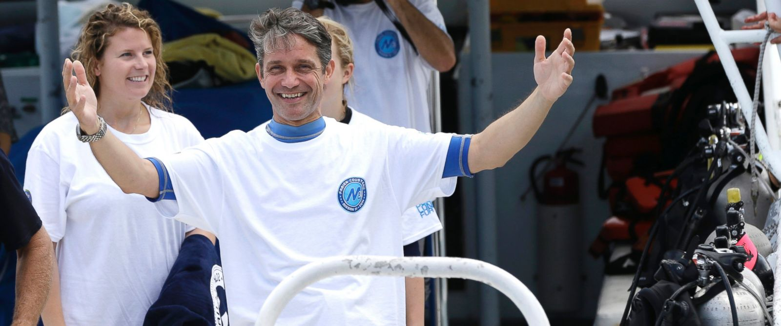 PHOTO: Fabien Cousteau reacts as he returns to the dock after 31 days undersea in the Aquarius Reef Base, July 2, 2014, in Islamorada, in the Florida Keys.